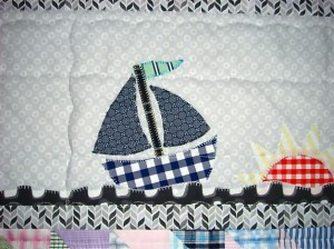 Sail boats happily sailing on a sea of organic cotton by Daisy Janie.