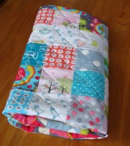 Modern Handmade Patchwork baby quilt.