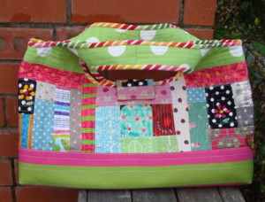 Back view of Quilt As You Go Patchwork Bag.