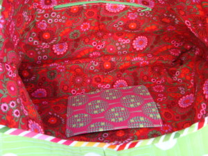 Inside View of Quilt As You Go Patchwork Bag.