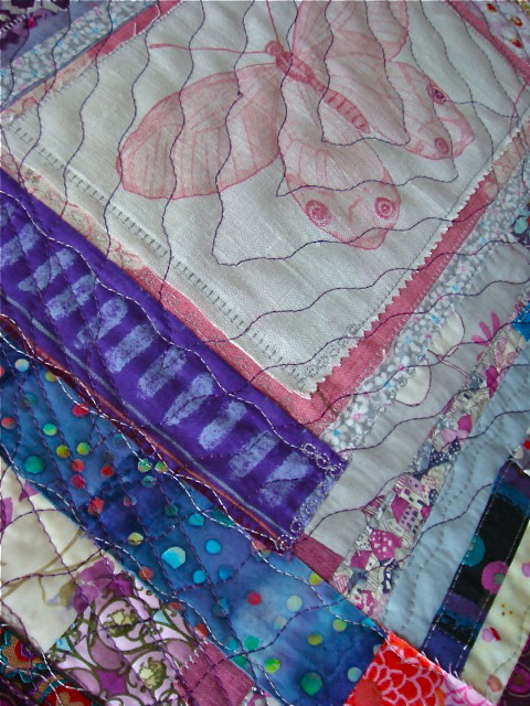 Detail of Radiant orchid Butterfly Mini Quilt.