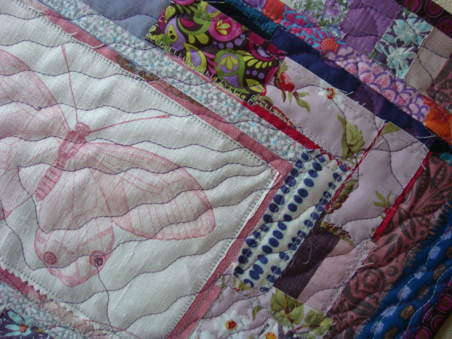 Detail of Mini Quilt Entry in the Pantone Radiant Orchid 2014 Challenge.